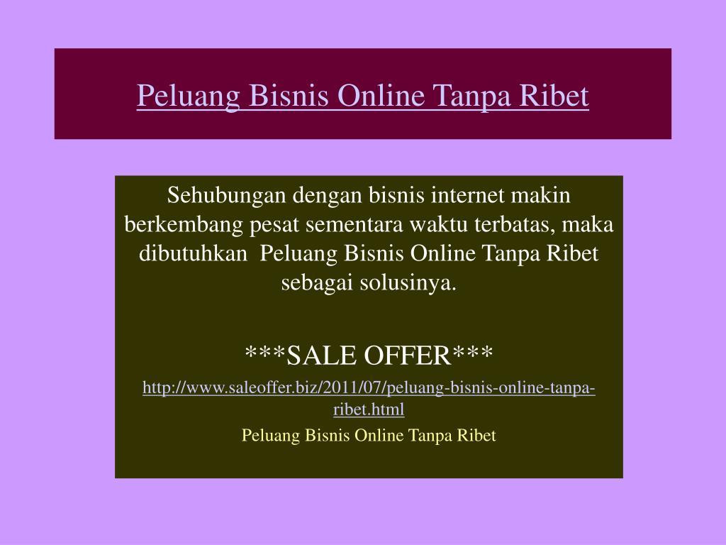 peluang bisnis online tanpa ribet l.
