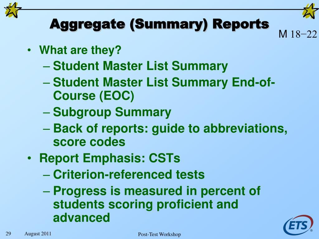 Aggregate (Summary) Reports