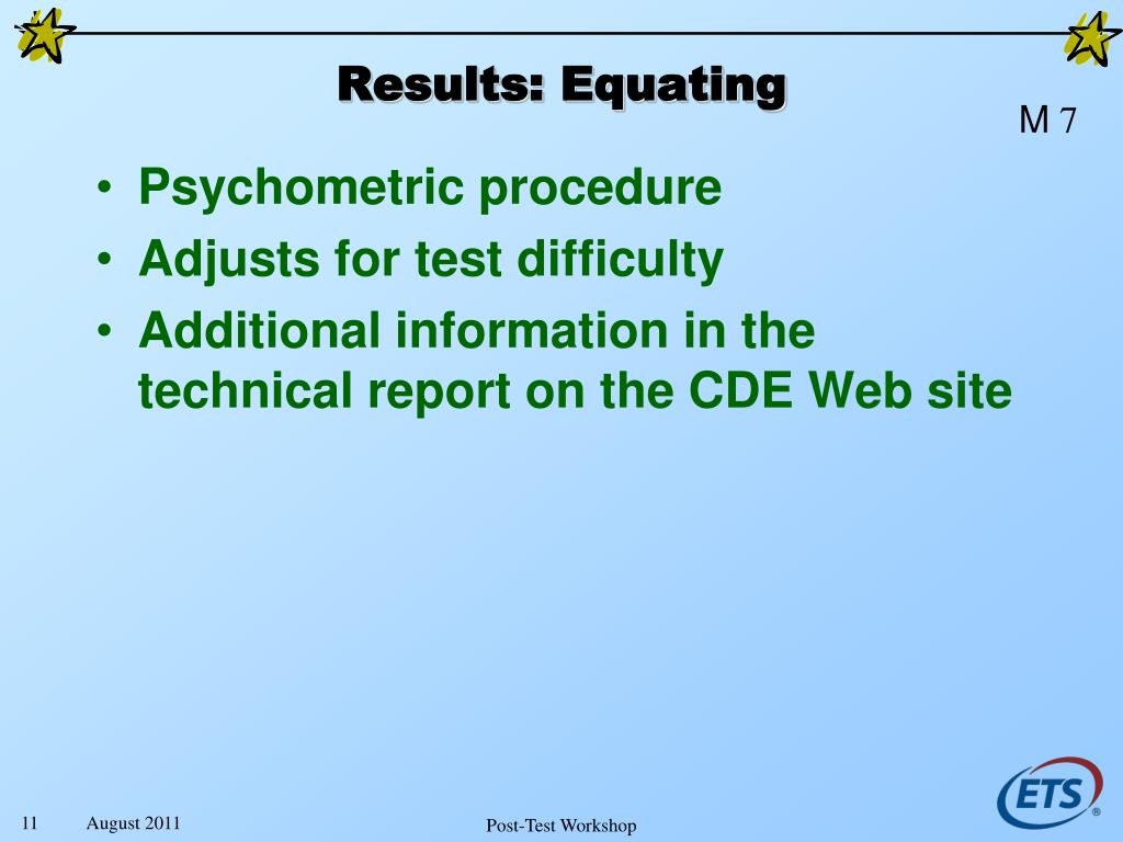 Results: Equating