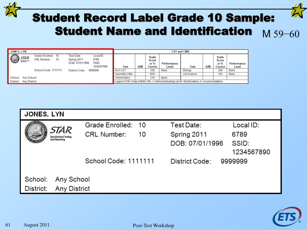 Student Record Label Grade 10 Sample:
