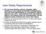 user safety requirements