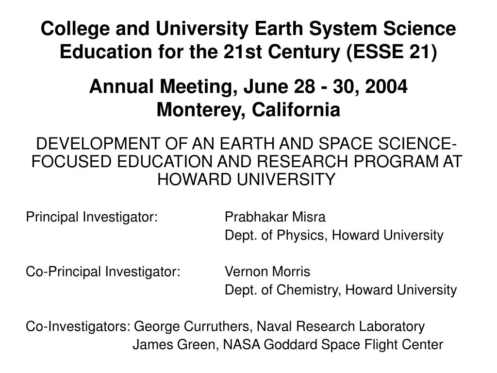 college and university earth system science education for the 21st century esse 21 l.