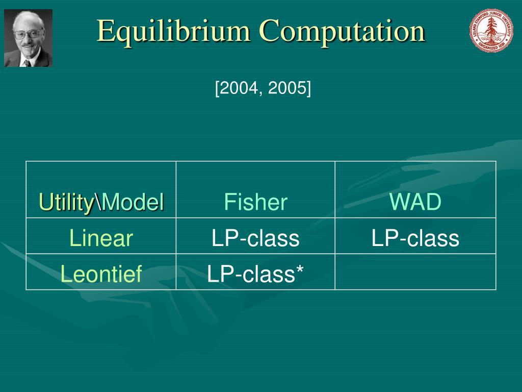 Equilibrium Computation