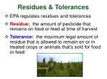 residues tolerances