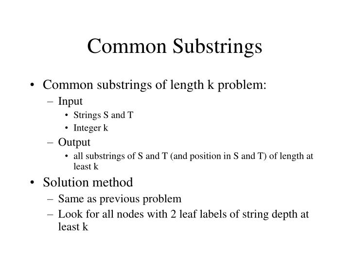 Common Substrings