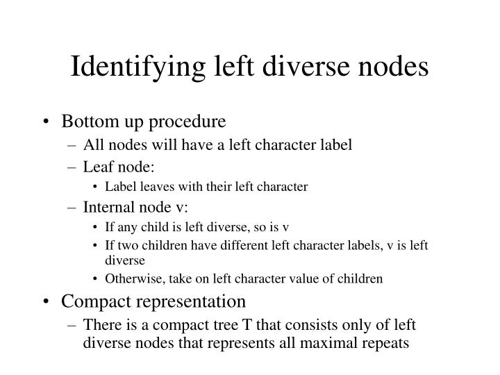 Identifying left diverse nodes