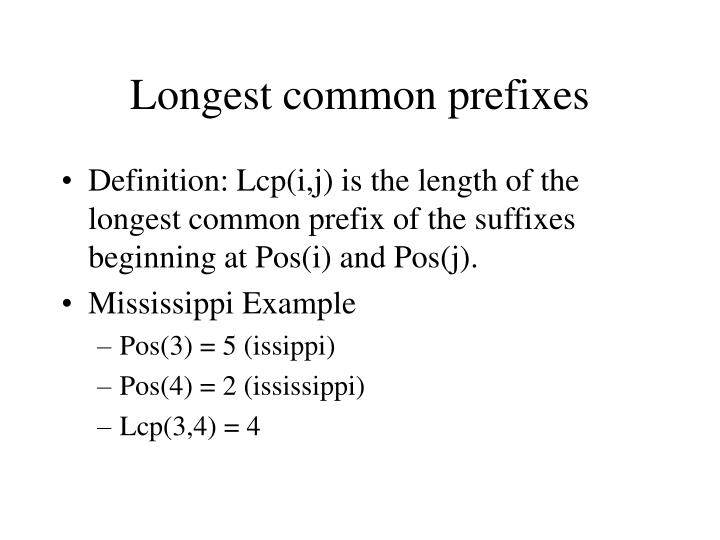 Longest common prefixes