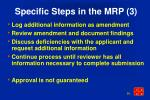 specific steps in the mrp 3