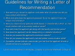 guidelines for writing a letter of recommendation
