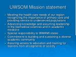 uwsom mission statement