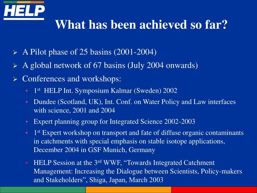 A Pilot phase of 25 basins (2001-2004)