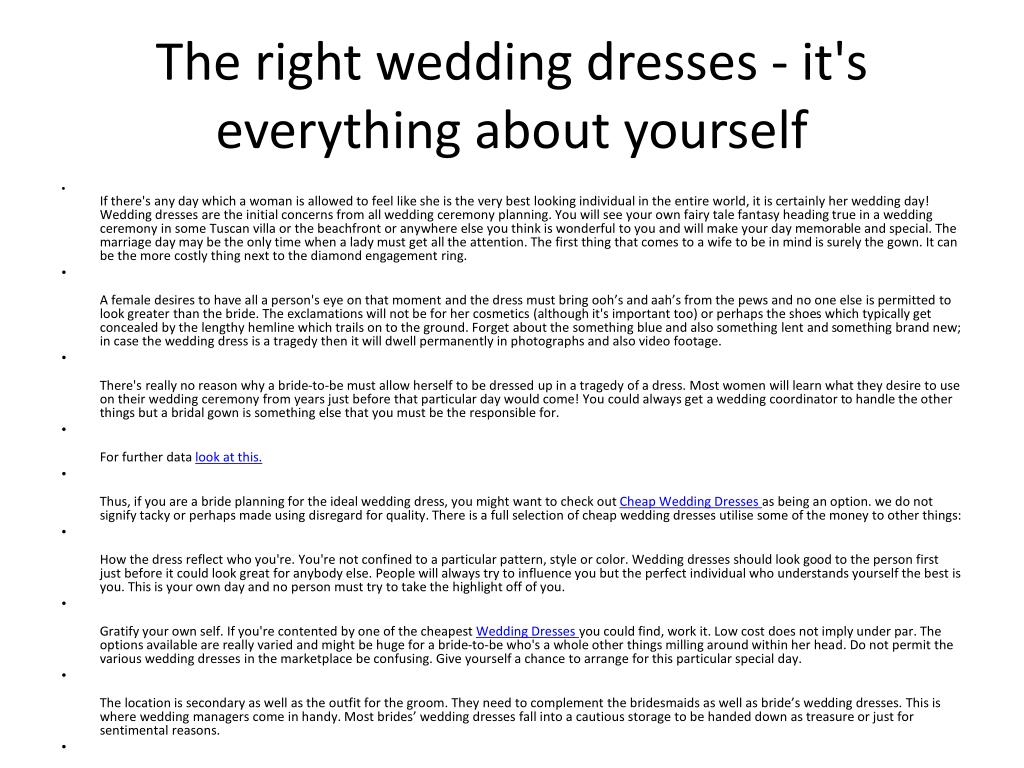 the right wedding dresses it s everything about yourself l.