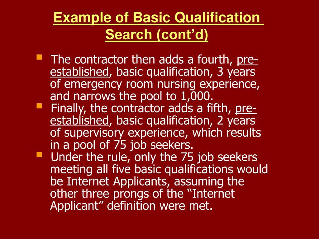 Example of Basic Qualification