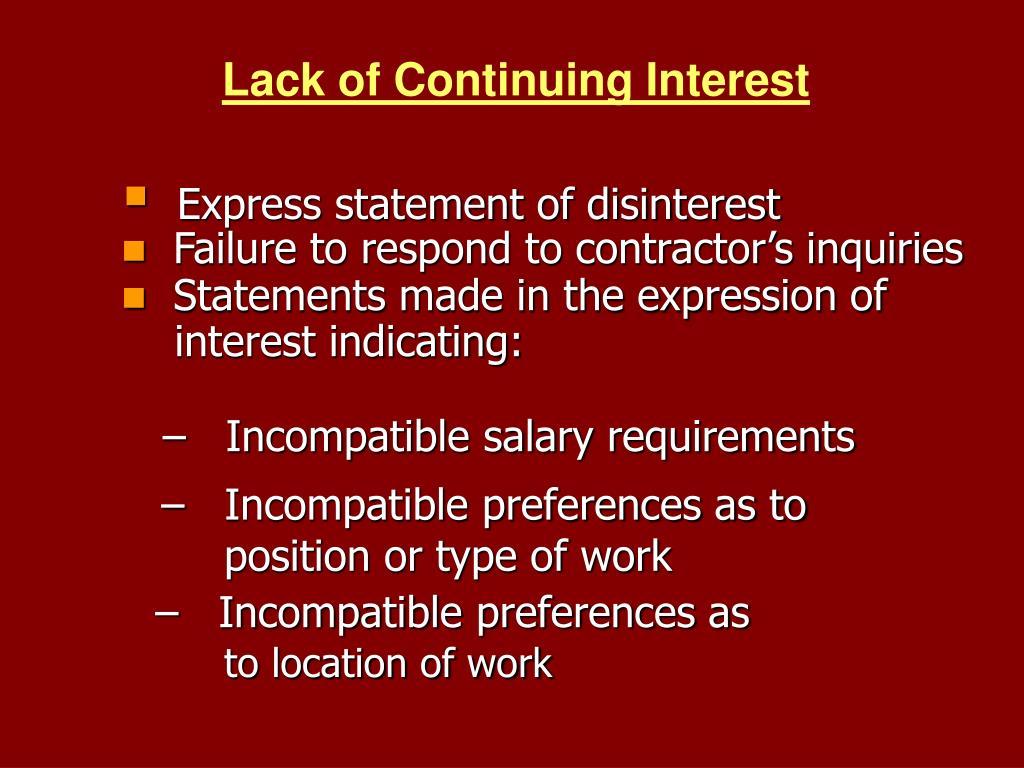 Lack of Continuing Interest