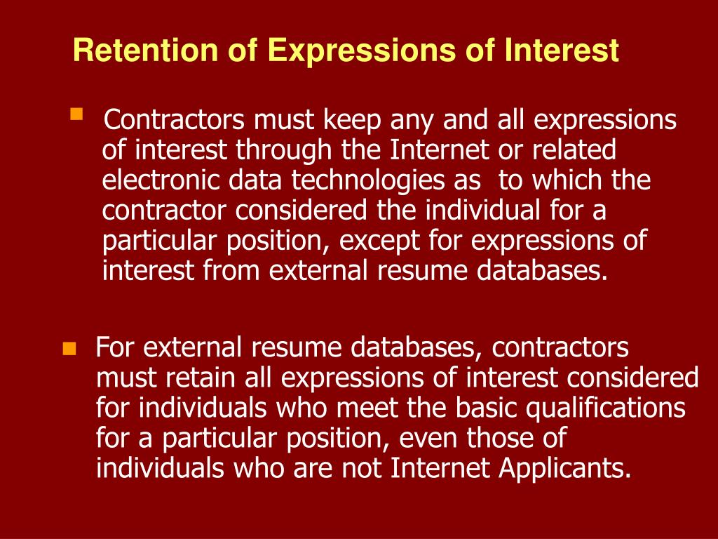Retention of Expressions of Interest