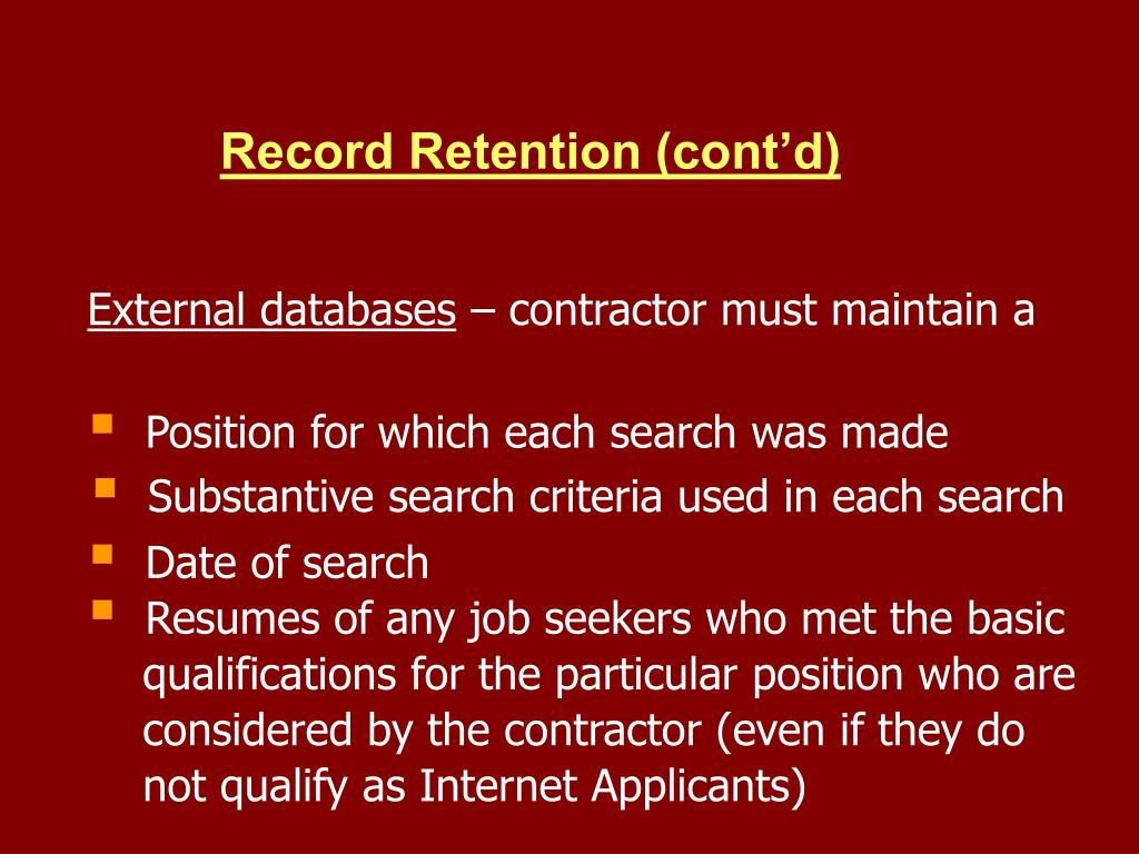 Record Retention (cont'd)