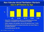 non valvular atrial fibrillation warfarin use in af patients by age