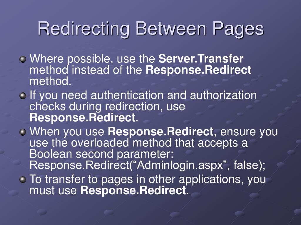 Redirecting Between Pages