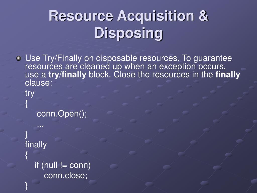 Resource Acquisition & Disposing