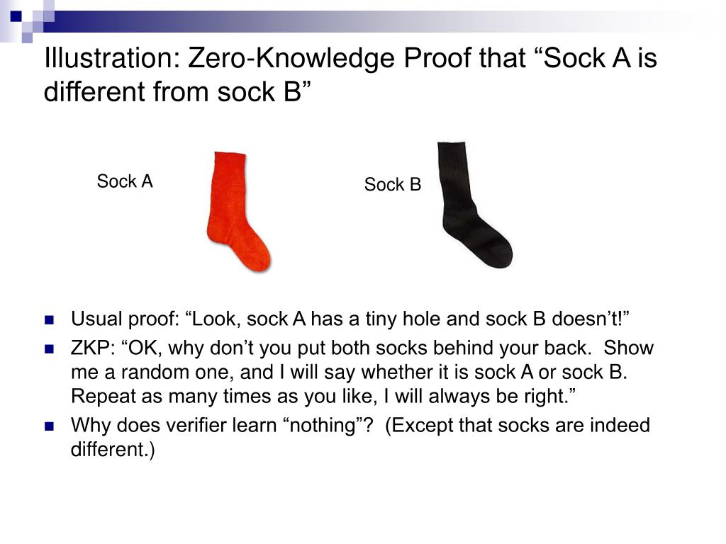 "Illustration: Zero-Knowledge Proof that ""Sock A is different from sock B"""