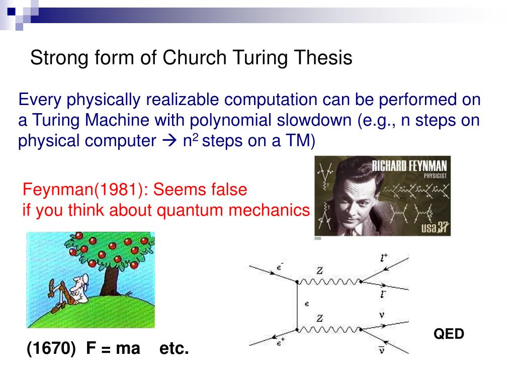 Strong form of Church Turing Thesis