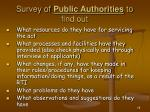 survey of public authorities to find out
