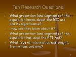 ten research questions