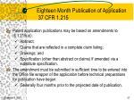 eighteen month publication of application 37 cfr 1 215