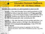 information disclosure statements 37 cfr 1 98 og waiver artifacts