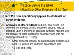 practice before the bpai affidavits or other evidence 1 116 e