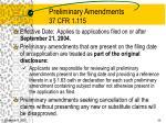 preliminary amendments 37 cfr 1 115