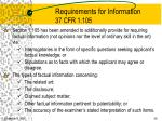 requirements for information 37 cfr 1 105