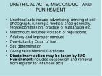 unethical acts misconduct and punihsment