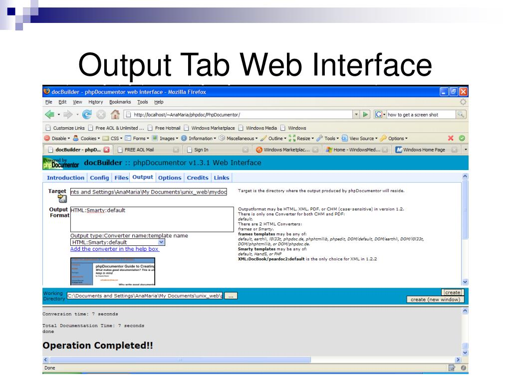 Output Tab Web Interface