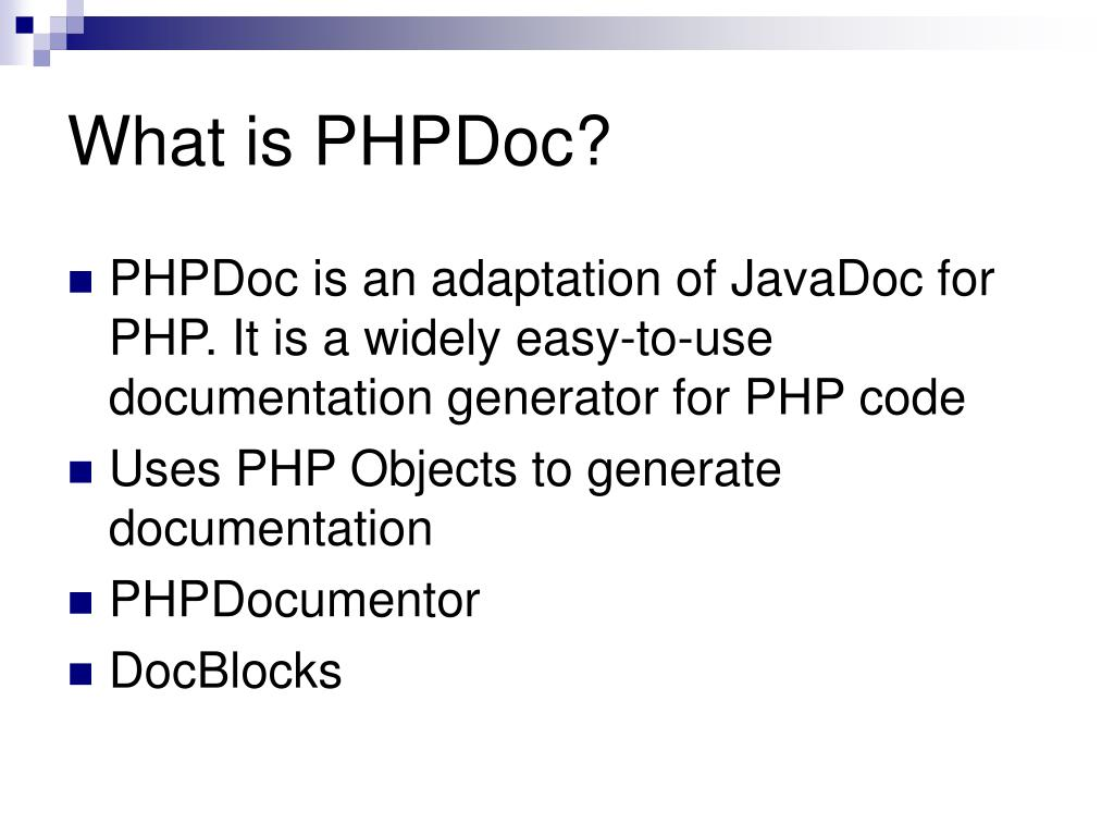 What is PHPDoc?