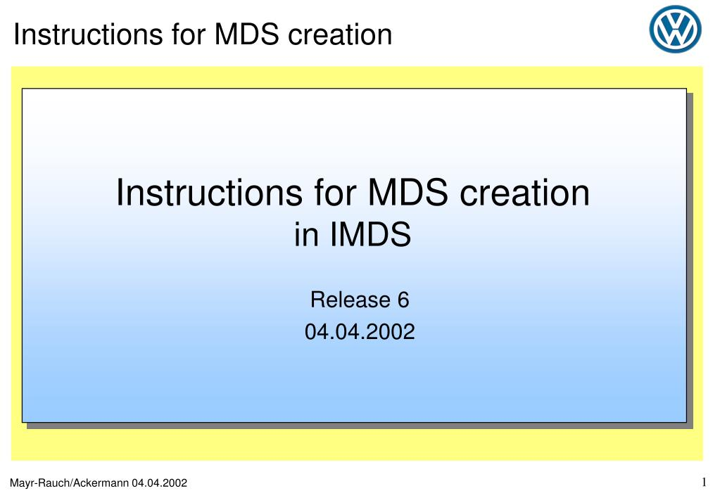 instructions for mds creation in imds l.