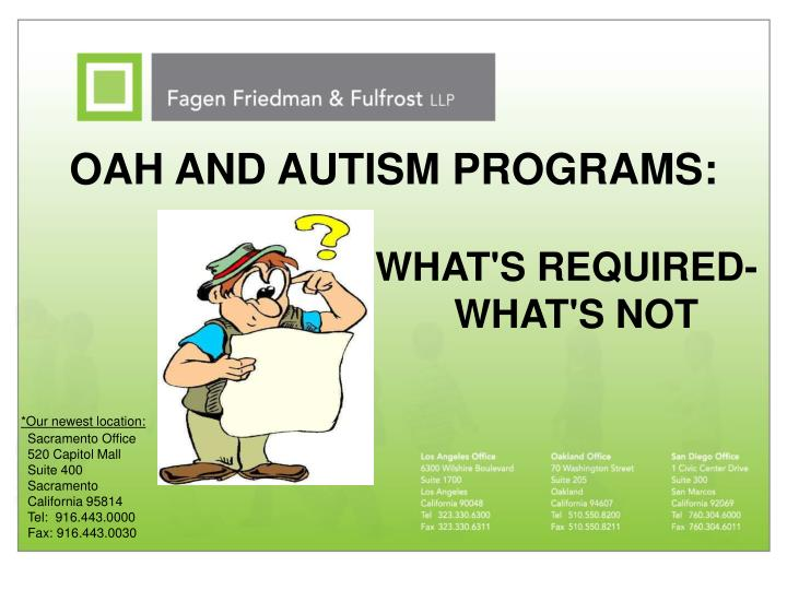 Oah and autism programs