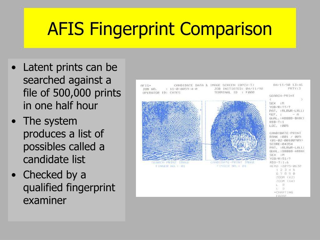 AFIS Fingerprint Comparison