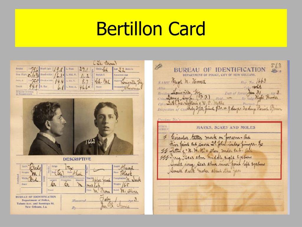 Bertillon Card