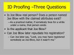 id proofing three questions
