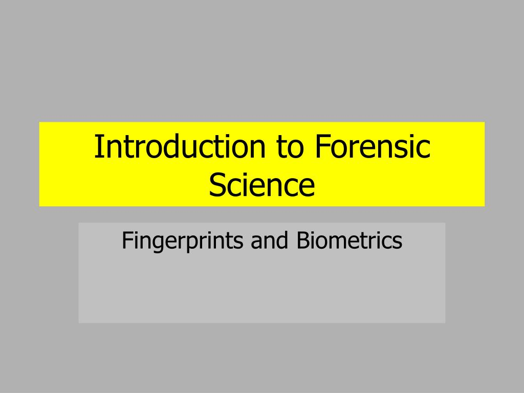 introduction to forensic science l.