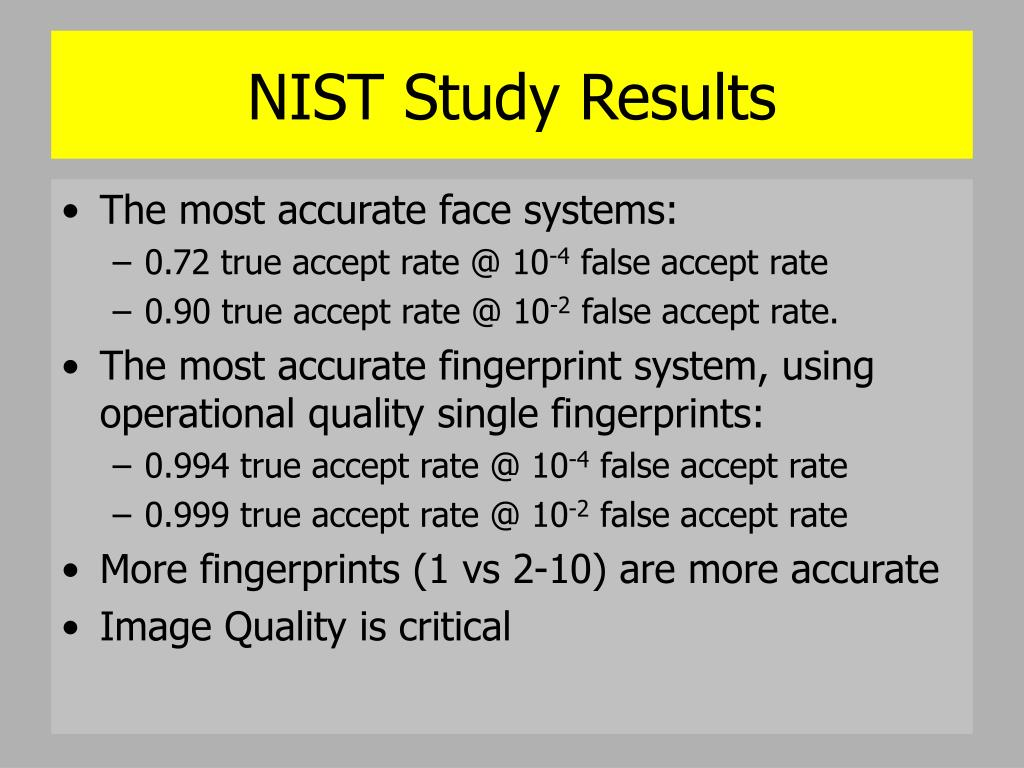 NIST Study Results