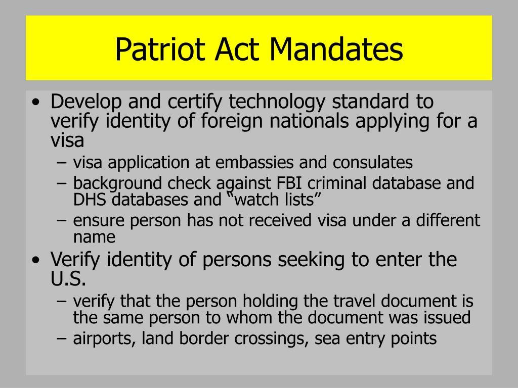 Patriot Act Mandates