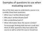 examples of questions to use when evaluating sources