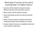 what types of sources can be used in teaching paper 2 of higher history