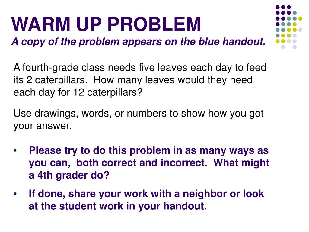 warm up problem a copy of the problem appears on the blue handout l.
