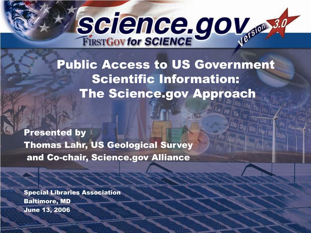 public access to us government scientific information the science gov approach l.