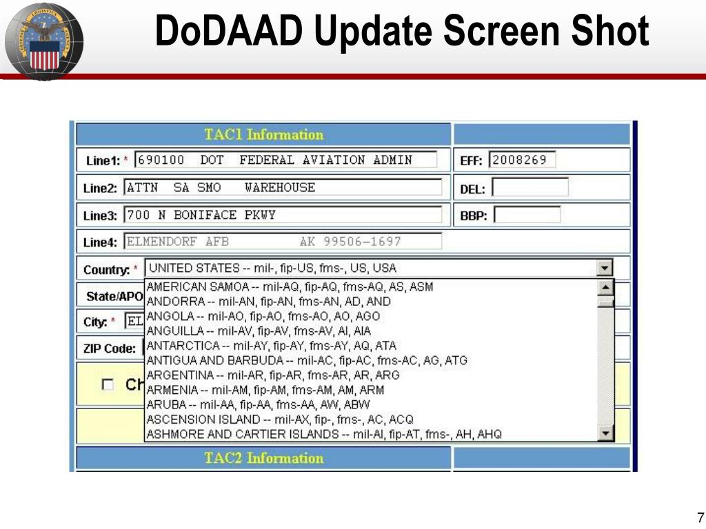 DoDAAD Update Screen Shot