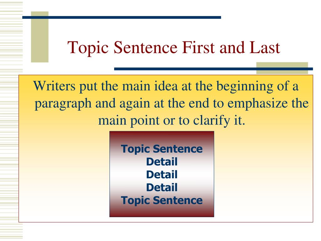 Topic Sentence First and Last