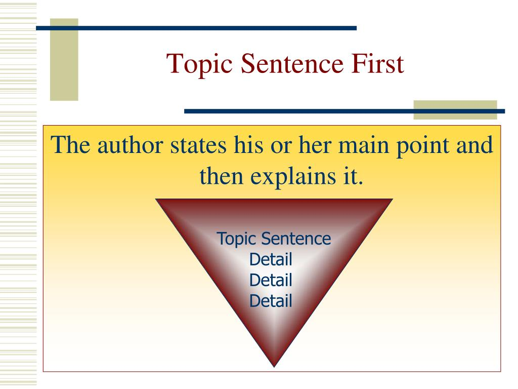 Topic Sentence First